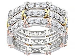 Pre-Owned White Cubic Zirconia Rhodium And 14K Yellow and Rose Gold Over Silver Band Rings Set of 3