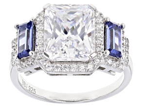 Pre-Owned Blue And White Cubic Zirconia Rhodium Over Sterling Silver Ring 7.65ctw