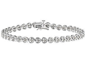 Pre-Owned White Diamond Rhodium Over Sterling Silver Bracelet 0.25ctw