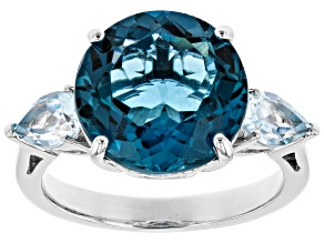 Pre-Owned London blue topaz rhodium over silver 3-stone ring 7.46ctw