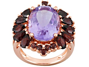 Pre-Owned Purple Amethyst And Garnet 18k Rose Gold Over Sterling Silver Ring 8.49ctw