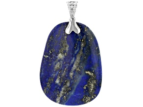 Pre-Owned Blue Lapis Lazuli Rhodium Over Sterling Silver Enhancer Pendant