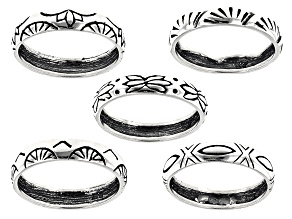 Pre-Owned Southwest Style by JTV™ sterling silver engraved 5-piece band ring set