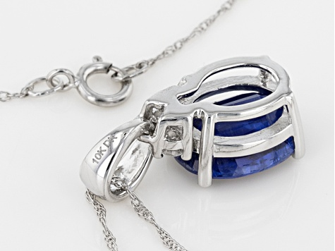 Pre-Owned Blue Kyanite 10k White Gold Pandant With Chain 2.62ctw
