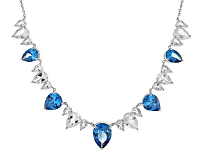 Pre-Owned Blue Lab Created Spinel Sterling Silver Necklace 27.00ctw