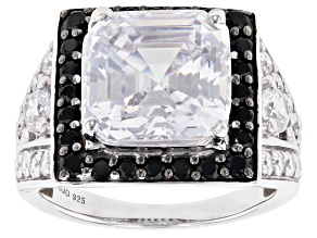 Pre-Owned Black Spinel and White Cubic Zirconia Rhodium Over Sterling Silver Ring 14.41ctw