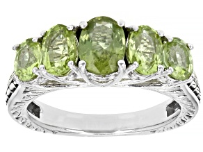 Pre-Owned Peridot Rhodium Over Sterling Silver Ring. 2.52ctw