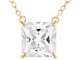 Pre-Owned White Cubic Zirconia 10k Yellow Gold Necklace 5.00ctw
