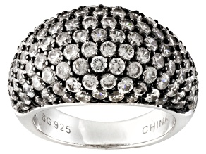 Pre-Owned White Zircon Sterling Silver Dome Ring 6.38ctw.