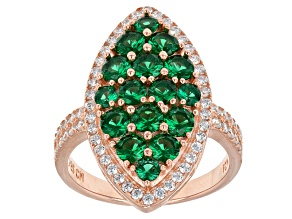 Pre-Owned Green And White Cubic Zirconia 18k Rg Over Sterling Silver Ring 3.71ctw