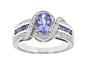 Pre-Owned Blue Tanzanite Rhodium Over Silver Ring 1.02ctw