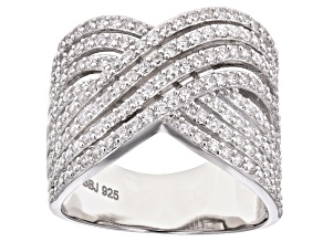 Pre-Owned White Cubic Zirconia Rhodium Over Sterling Silver Ring 2.33ctw