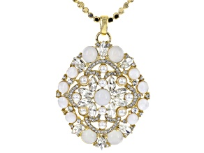 Pre-Owned White Crystal Pearl Simulant Moonstone Simulant Gold Tone Pendant With Chain