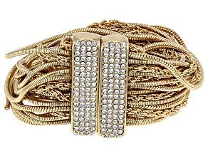 Pre-Owned White Crystal Gold Tone Multi Strand Bracelet
