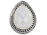 Pre-Owned White Moonstone Silver Ring
