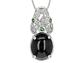 Pre-Owned Black Spinel Sterling Silver Pendant With Chain 7.28ctw