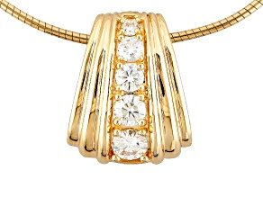 Pre-Owned Moissanite Pendant 14k Yellow Gold Over Sterling Silver .90ctw DEW