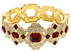 Pre-Owned White And Red Crystal Gold Tone Deco Bracelet