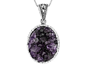 Pre-Owned Purple Amethyst Geode Sterling Silver Enhancer With Chain