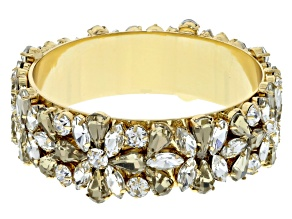 Pre-Owned White And Champagne Crystal Gold Tone Bangle