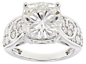 Pre-Owned Moissanite Fire®7.28ctw Diamond Equivalent Weight Cushion Cut And Round Platineve™ Ring