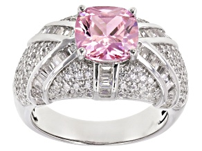 Pre-Owned Pink And White Cubic Zirconia Rhodium Over Sterling Silver Ring 5.75CTW