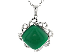 Pre-Owned Green Onyx Silver Pendant With Chain