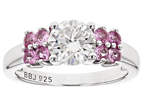 Pre-Owned Moissanite Fire® 1.20ct DEW And .63ctw Pink Sapphire Platineve™ Ring