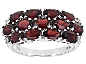 Pre-Owned Red garnet rhodium over silver ring 3.23ctw