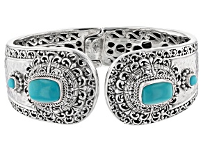 Pre-Owned Turquoise Blue Kingman Silver Cuff Bracelet