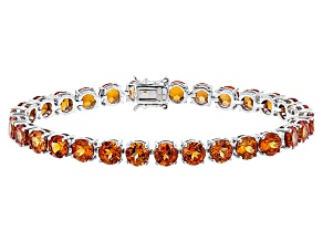 Pre-Owned Orange Lab Padparadscha Sapphire Silver Tennis Bracelet 24.82ctw