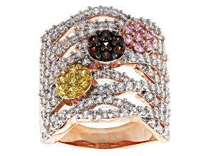 Pre-Owned Brown, Yellow, Pink And White Cubic Zirconia 18k Rose Gold Over Silver Ring 5.11ctw (2.55c