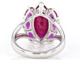 Pre-Owned Red lab ruby rhodium over silver ring 5.61ctw