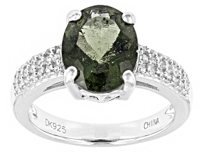 Pre-Owned Green Moldavite Sterling Silver Ring 1.73ctw