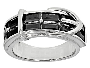 Pre-Owned Black Spinel Sterling Silver Buckle Ring 2.24ctw