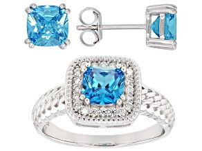 Pre-Owned Blue & White Cubic Zirconia Rhodium Over Sterling Silver Ring & Earrings Set 4.24ctw