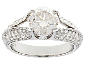 Pre-Owned Moissanite Fire™ 2.90ctw Diamond Equivalent Weight Round Platineve™ Ring