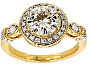 Pre-Owned Moissanite 14k Yellow Gold Over Silver Ring 2.13ctw DEW