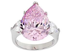 Pre-Owned Pink and White Cubic Zirconia Rhodium Over Silver Ring 23.21ctw