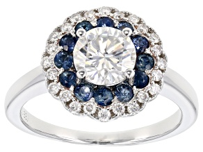 Pre-Owned Moissanite And .54ctw Blue Sapphire Platineve Ring 1.24ctw D.E.W