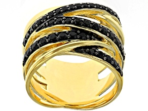 Pre-Owned .70ctw Black Spinel 18kt Yellow Gold Over Bronze Interwoven Band Ring