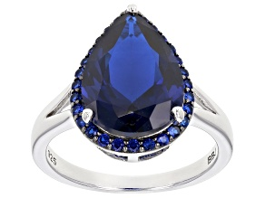 Pre-Owned Blue lab created spinel rhodium over silver ring 4.83ctw