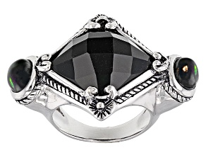 Pre-Owned Black Onyx Sterling Silver Ring .85ctw