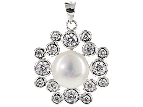 Pre-Owned Cultured Freshwater Pearl And Cubic Zirconia Sterling Silver Pendant