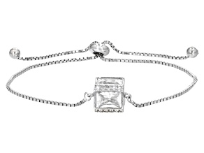 Pre-Owned White Cubic Zirconia Rhodium Over Sterling Silver Adjustable Bracelet 7.06ctw