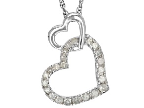 Pre-Owned White Diamond Rhodium Over Sterling Silver Pendant .20ctw