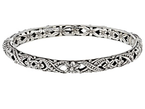 Pre-Owned Sterling Silver Floral Bangle Bracelet