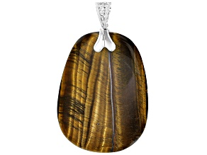 Pre-Owned Brown Tigers Eye Rhodium Over Sterling Silver Enhancer Pendant