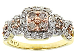 Pre-Owned Champagne And White Diamond 10k Yellow Gold Ring 0.91ctw