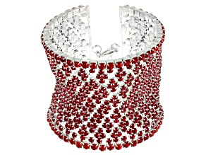 Pre-Owned Red Crystal Silver Tone Statement Bracelet